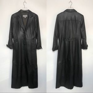 Vintage Arctic River leather trench coat, Size S